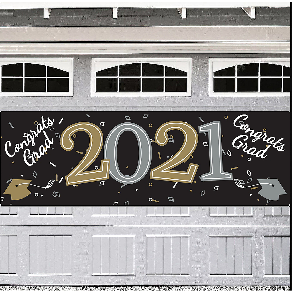 Black, Silver & Gold Congrats 2020 Graduation Outdoor Banner, 6ft x 2ft Image #1