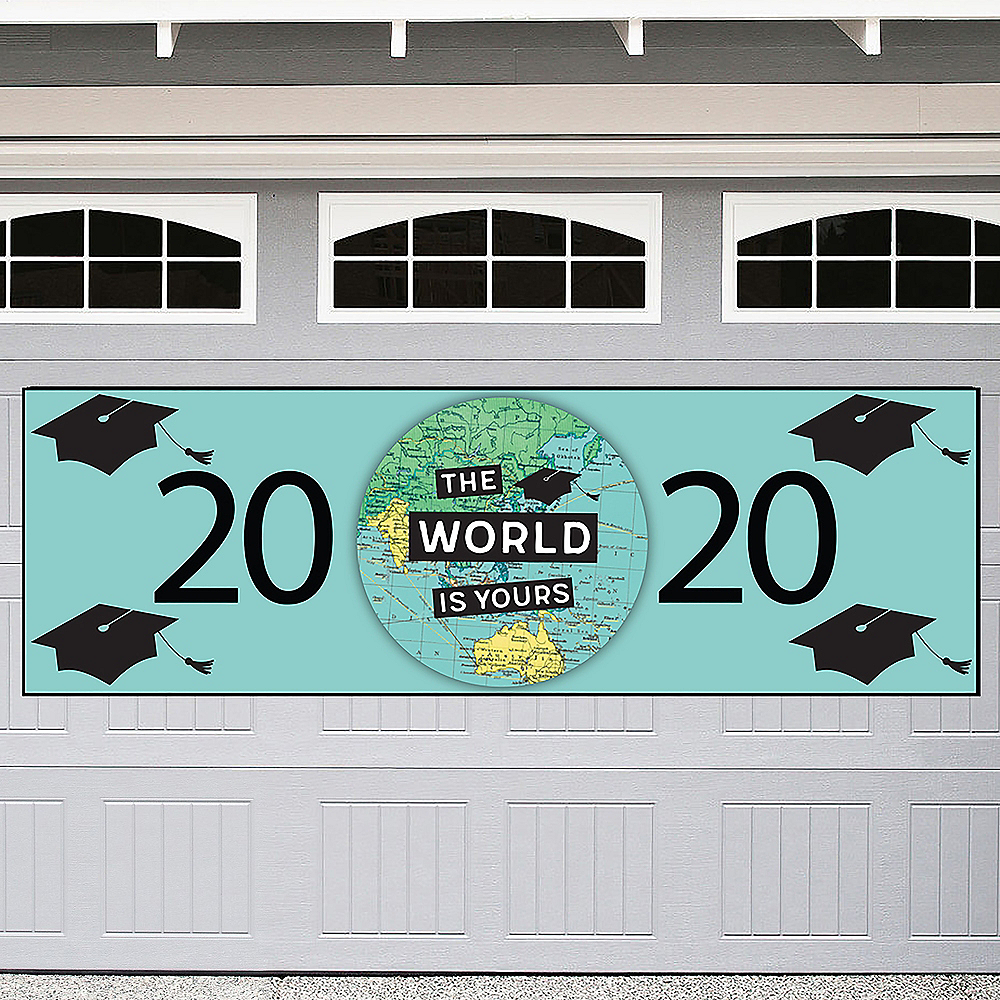 The World Awaits Graduation Outdoor Banner, 6ft x 2ft Image #1