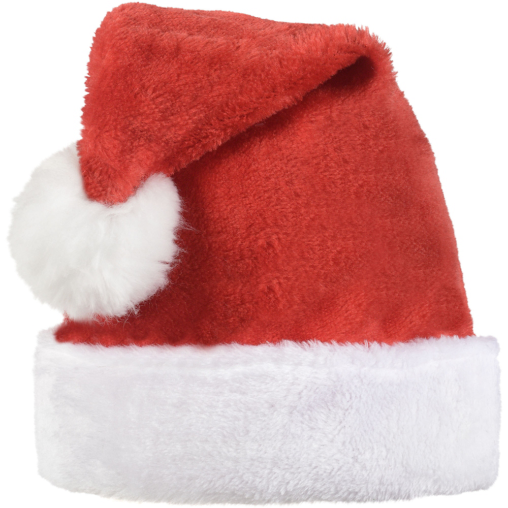 Red Plush Santa Hat for Adults Image #1