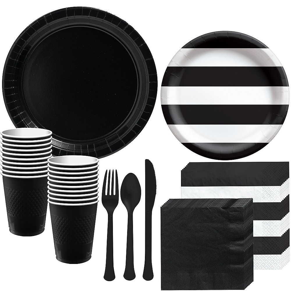 Black Striped Tableware Kit for 16 Guests Image #1