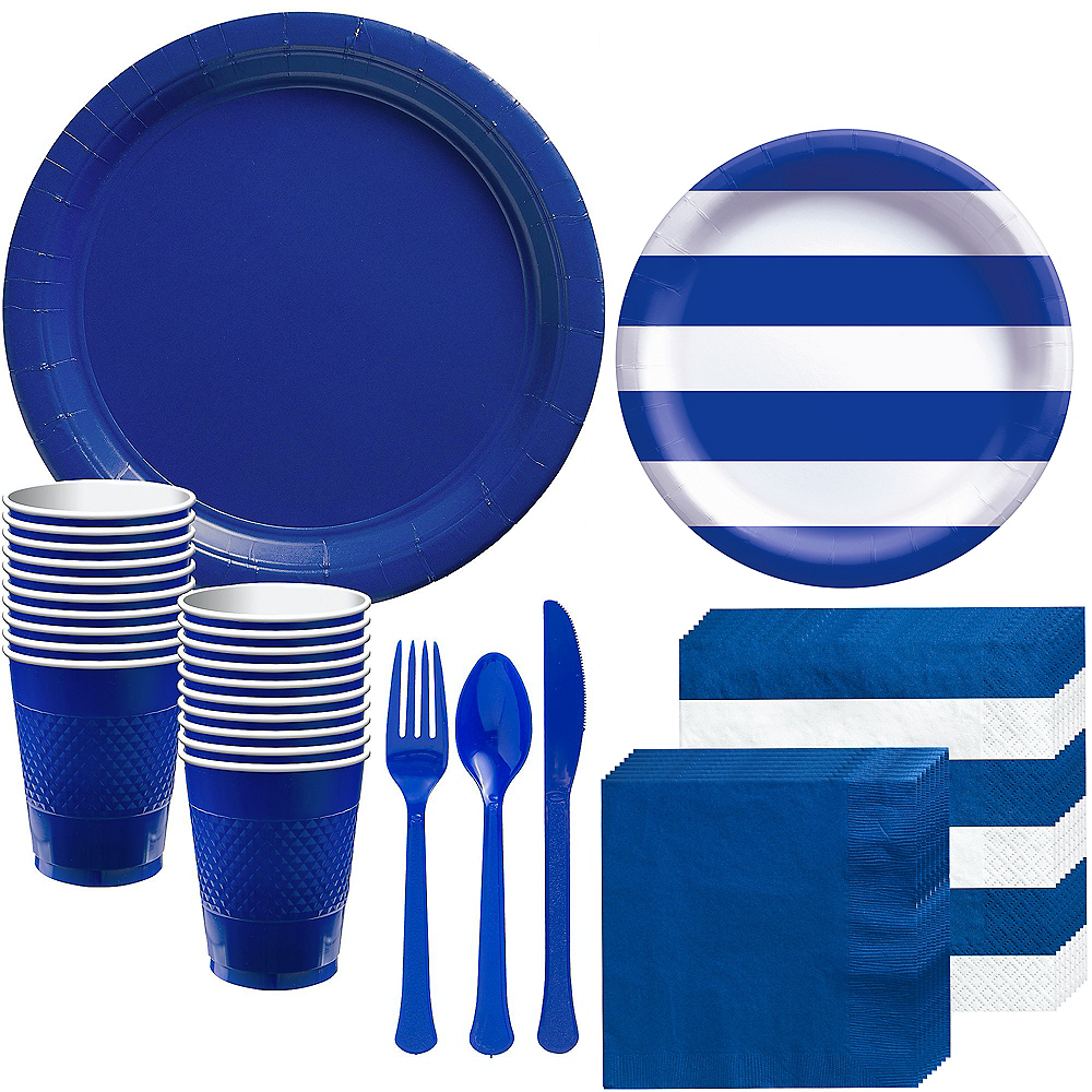 Royal Blue Striped Tableware Kit for 16 Guests Image #1
