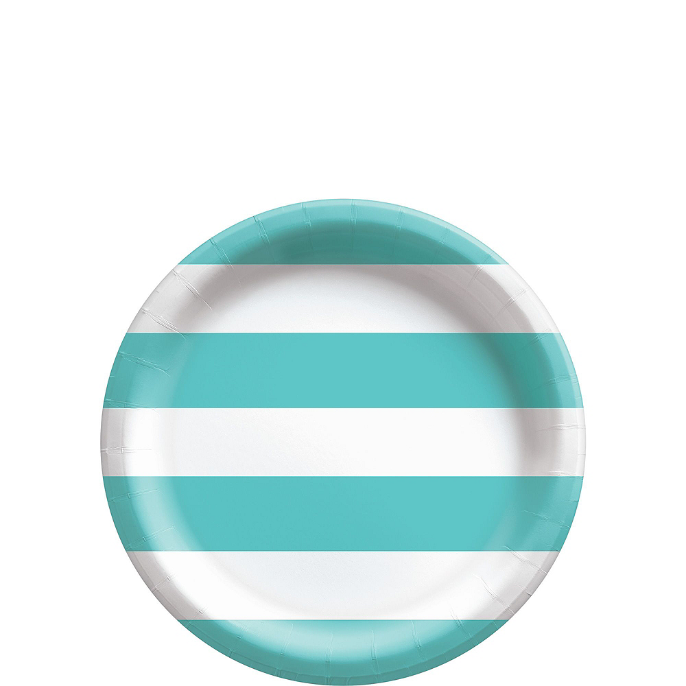 Robin's Egg Blue Striped Tableware Kit for 16 Guests Image #2