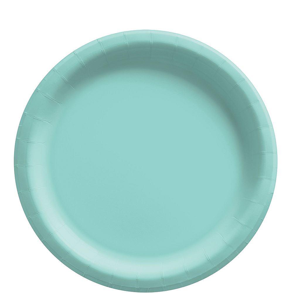 Robin's Egg Blue Striped Tableware Kit for 16 Guests Image #3