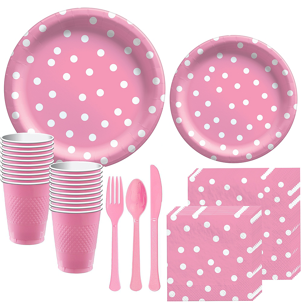 Pink Confetti Dot Tableware Kit for 16 Guests Image #1