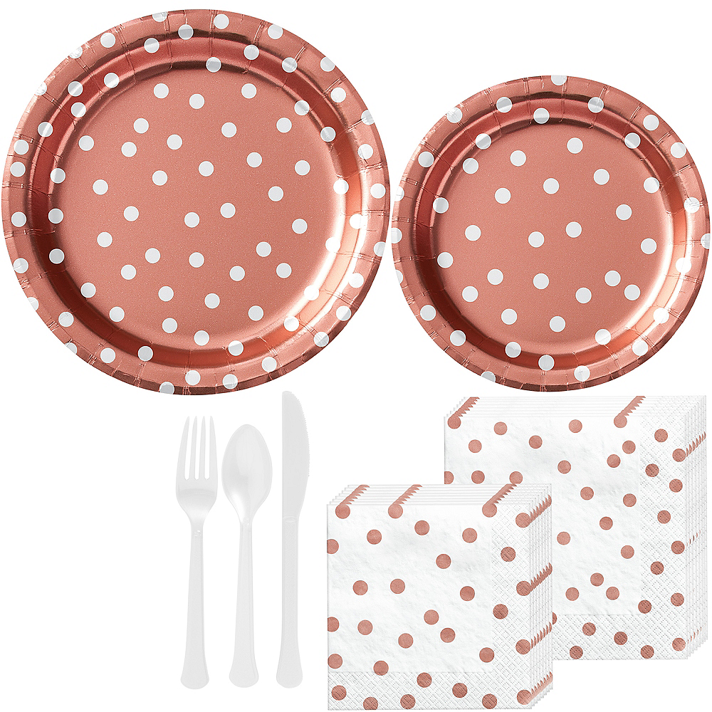 Metallic Rose-Gold Confetti Dot Tableware Kit for 16 Guests Image #1