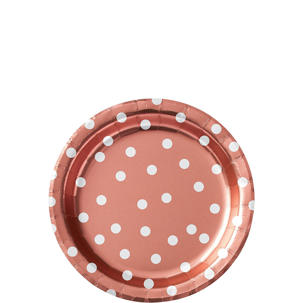 Metallic Rose-Gold Confetti Dot Tableware Kit for 16 Guests Image #2
