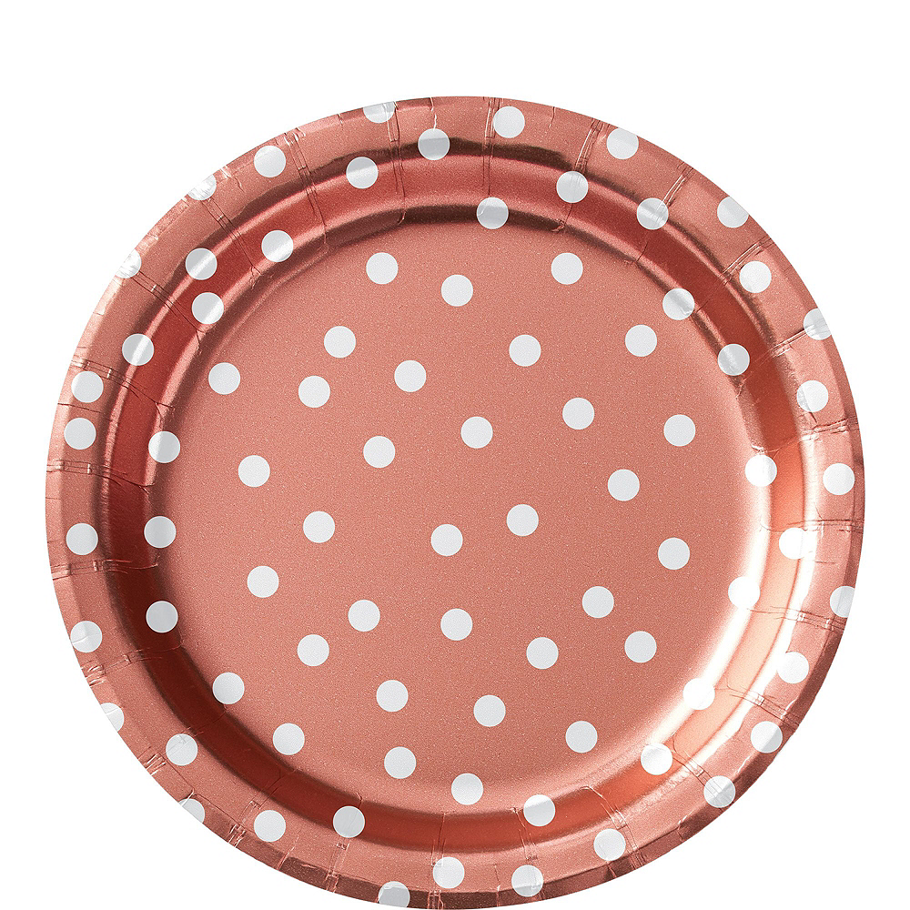 Metallic Rose-Gold Confetti Dot Tableware Kit for 16 Guests Image #3