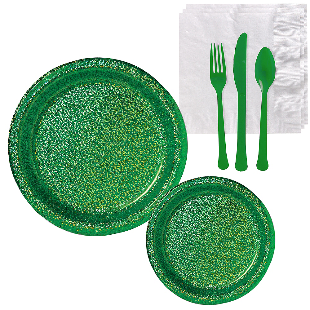 Prismatic Green Tableware Kit for 16 Guests Image #1