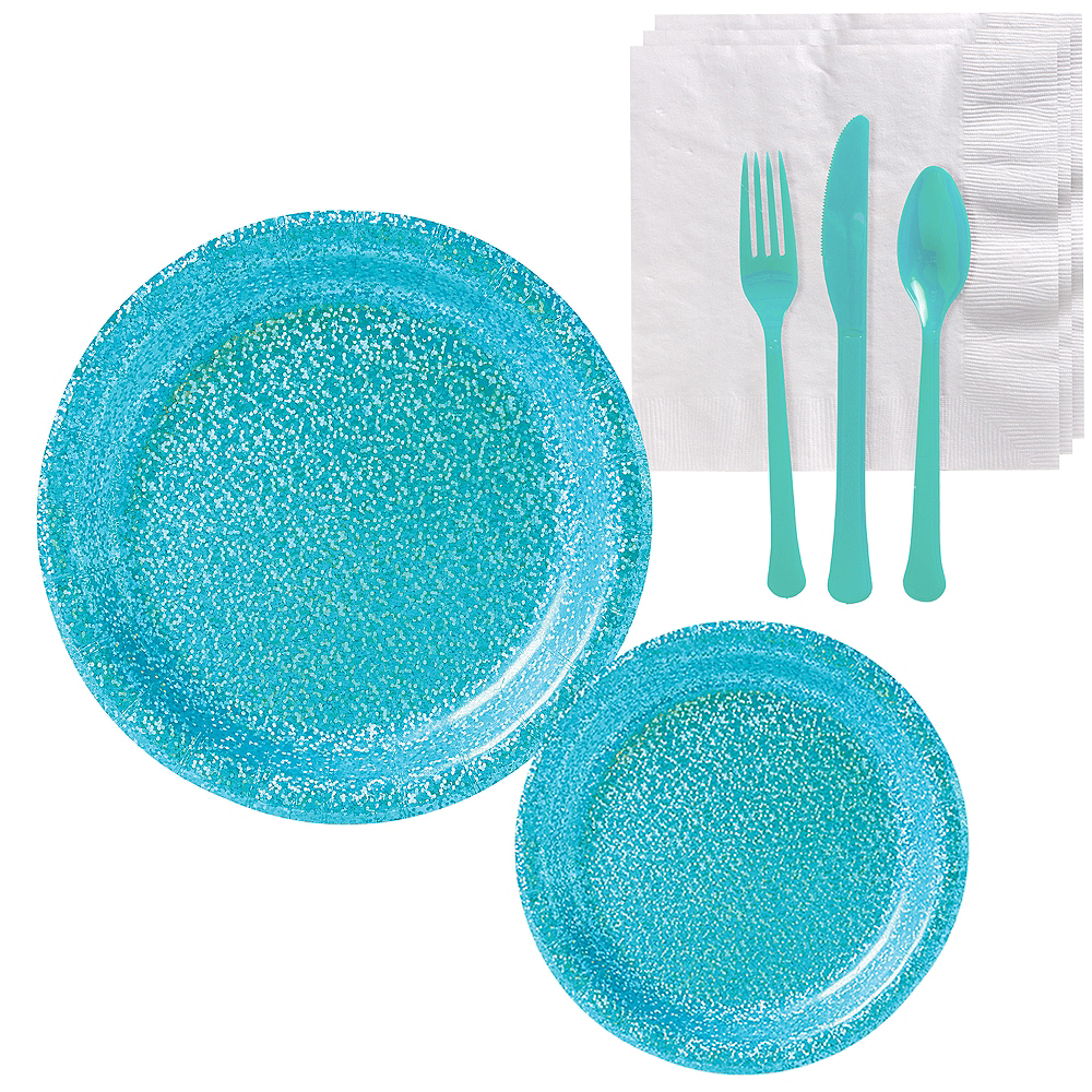 Prismatic Caribbean Blue Tableware Kit for 16 Guests Image #1