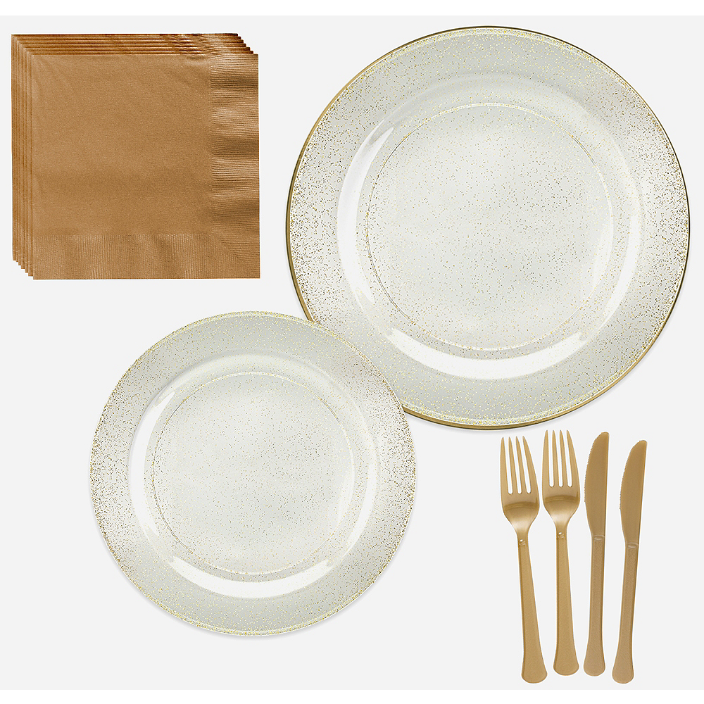 Premium Glitter Gold & White Tableware Kit for 20 Guests Image #1