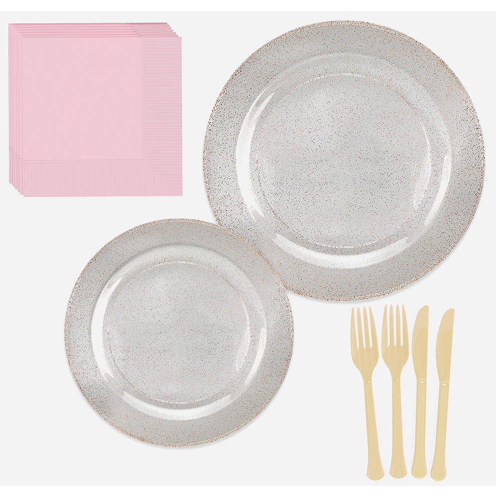 Premium Glitter Rose-Gold & White Tableware Kit 20 Guests Image #1