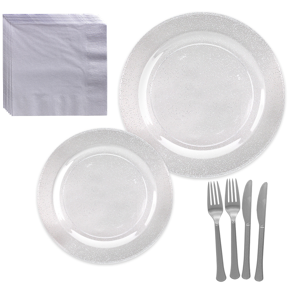 Premium Glitter Silver & White Tableware Kit for 20 Guests Image #1