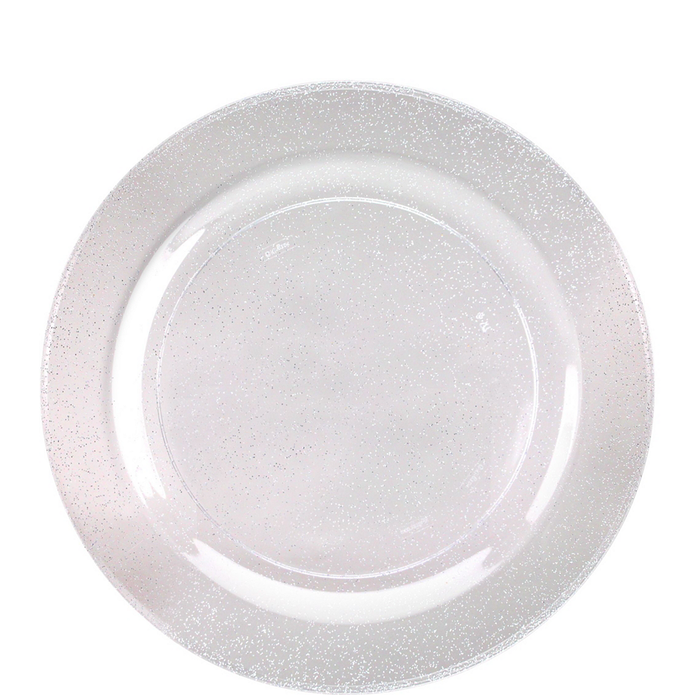 Premium Glitter Silver & White Tableware Kit for 20 Guests Image #2