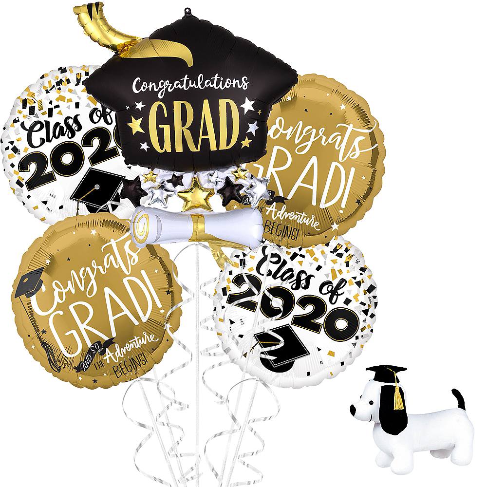 Class of 2020 Graduation Cap Balloon Bouquet Kit with Autograph Dog Image #1
