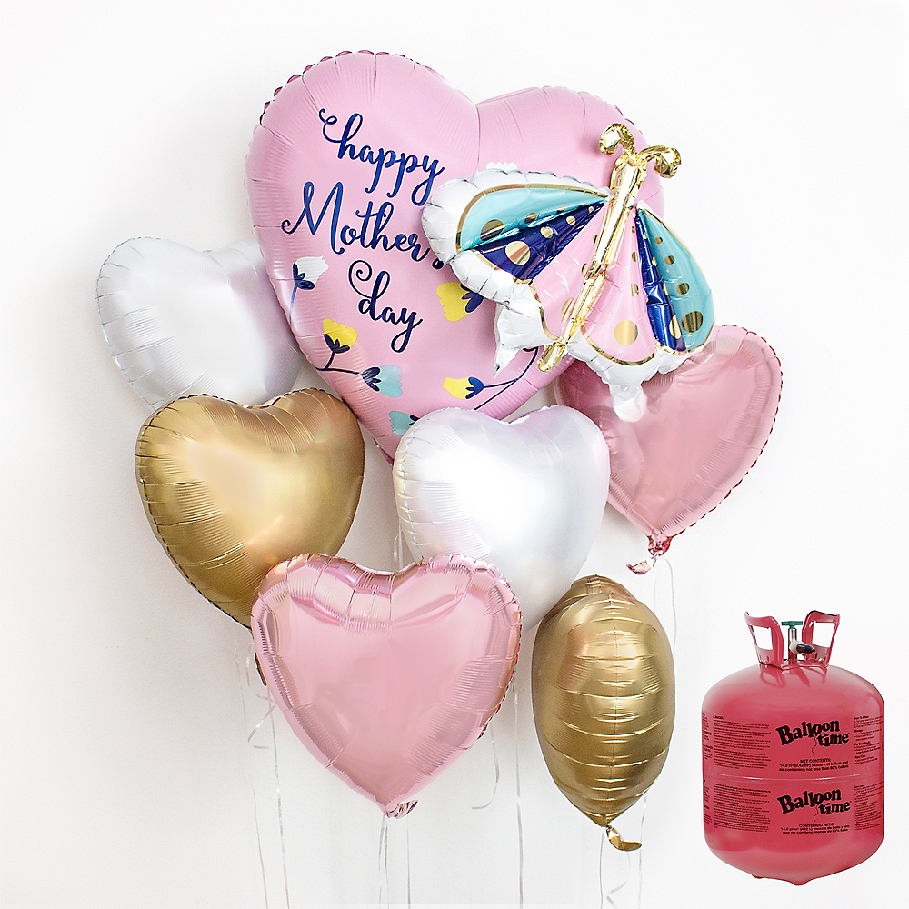 Butterfly Mother's Day Heart Balloon Bouquet, 7pc, with Helium Tank Image #1