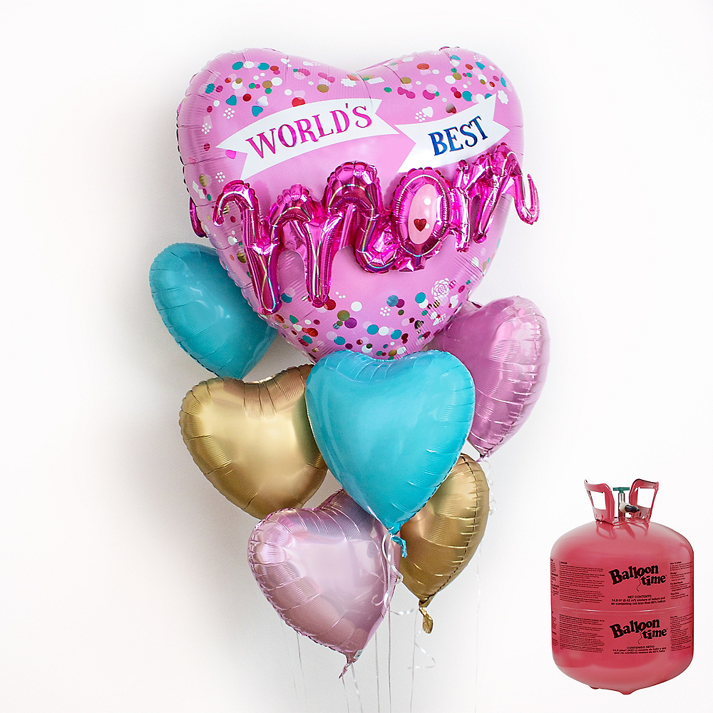 World's Best Mom Heart Balloon Bouquet, 7pc, with Helium Tank Image #1