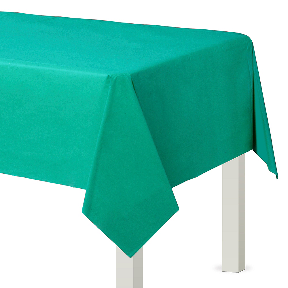 Brilliant Teal Plastic Table Cover Image #1