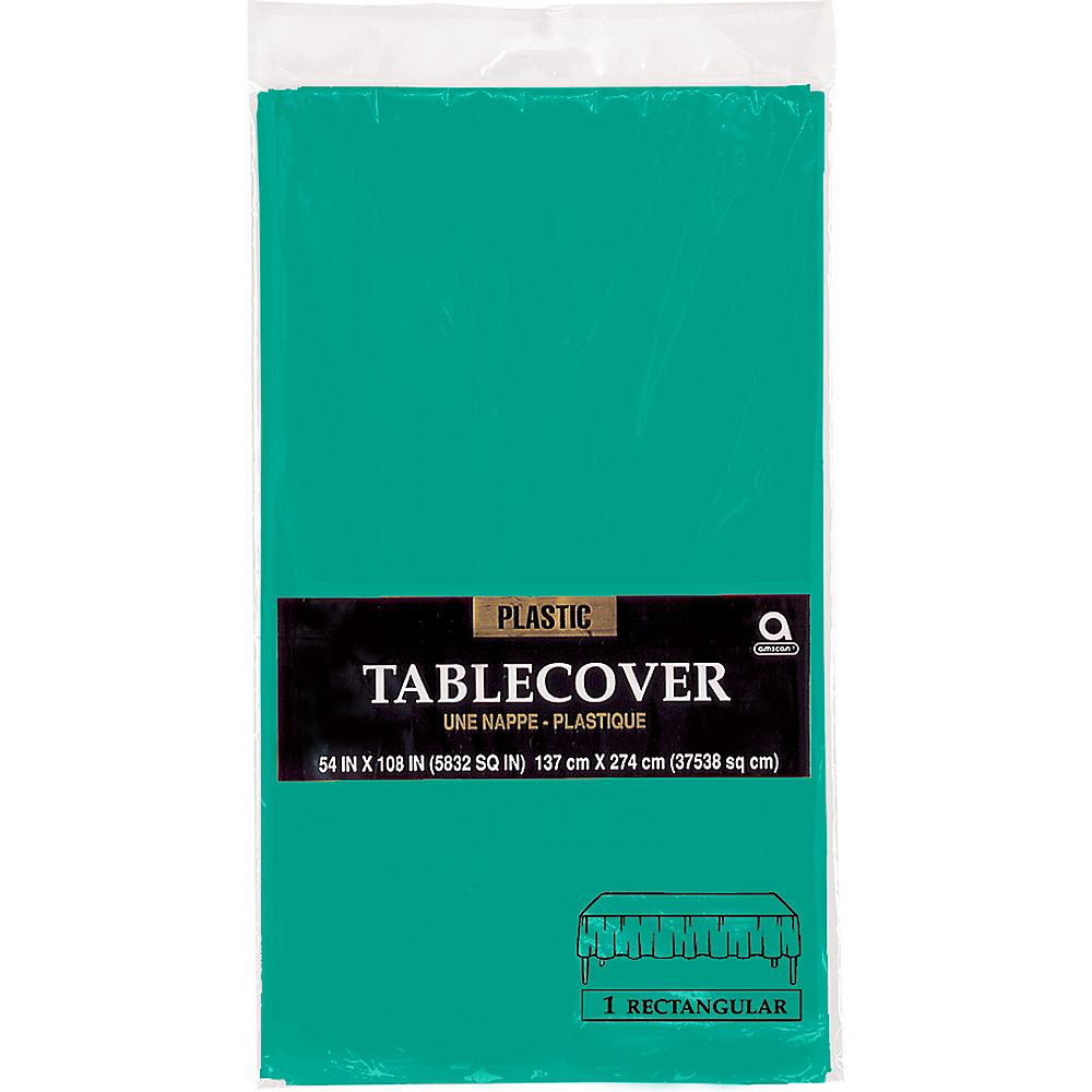 Brilliant Teal Plastic Table Cover Image #2