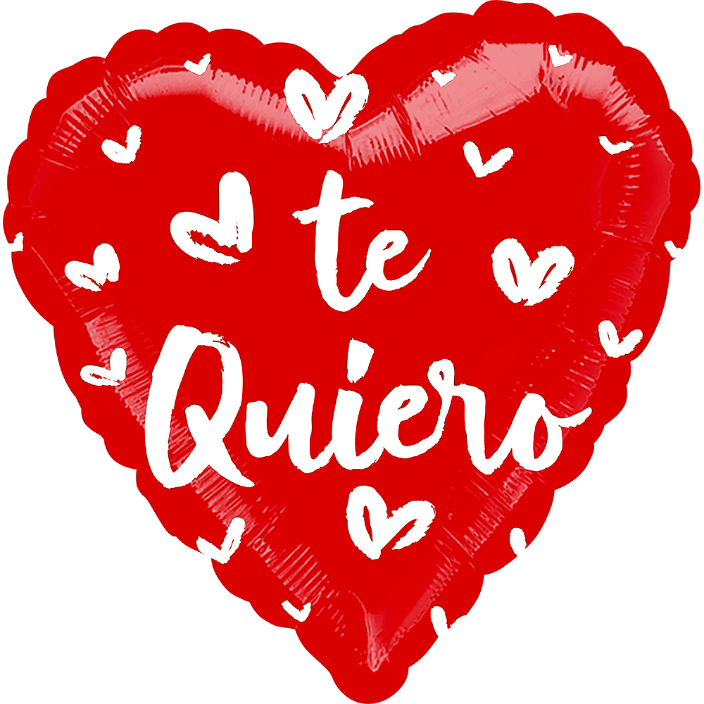 Nav Item for Red & White Satin Te Quiero Heart Foil Balloon, 17in Image #1