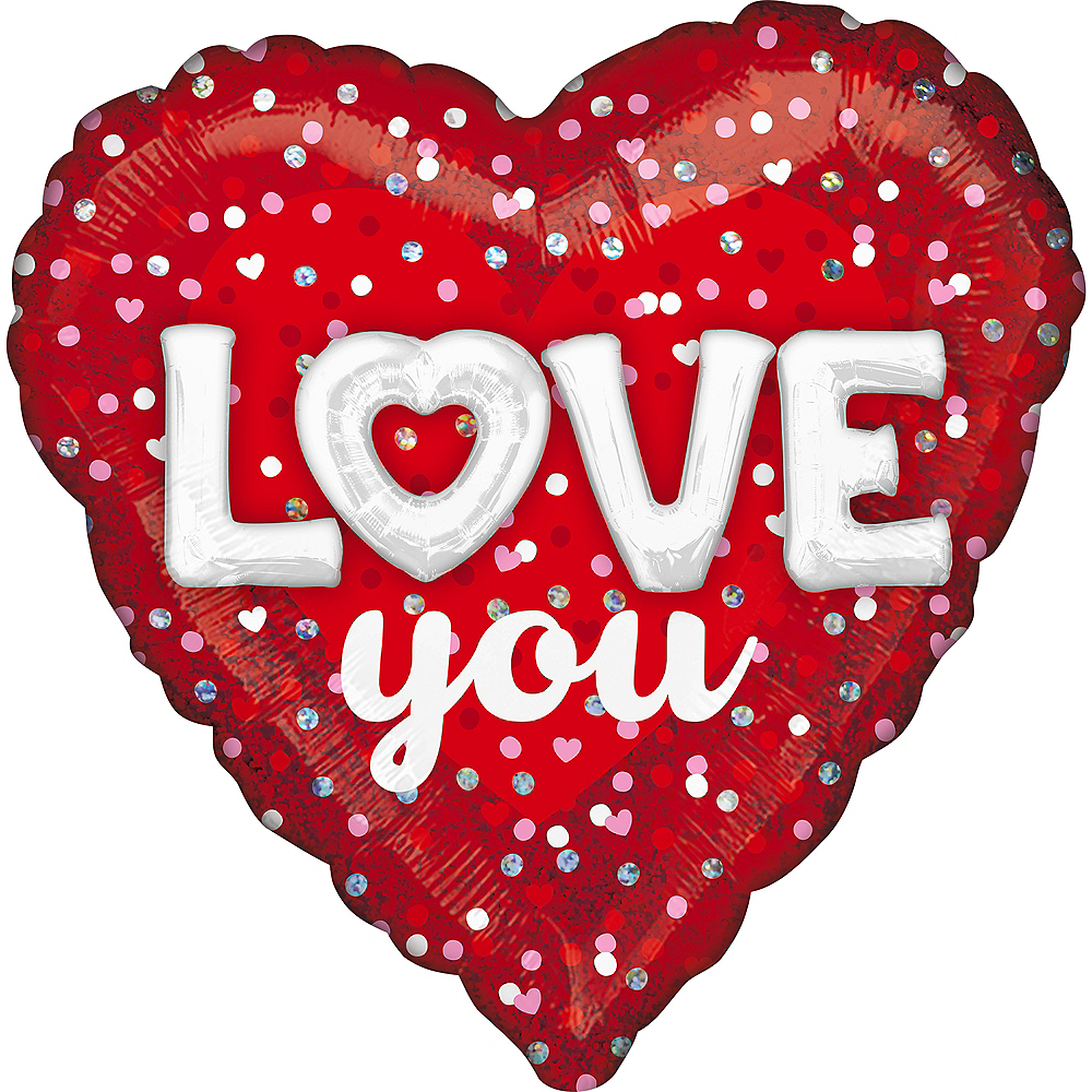 Red Dotted Love You Heart Foil Balloon, 18in Image #1