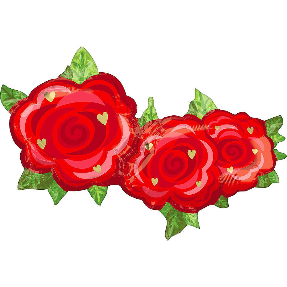 Red Rose Trio Foil Balloon, 37in x 20in Image #1