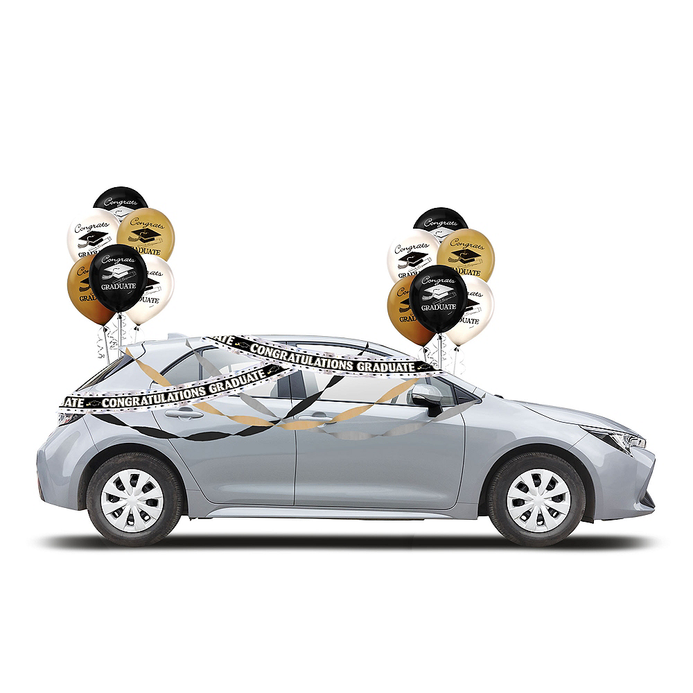 Black, Silver & Gold Drive-By Graduation in a Box | Party City