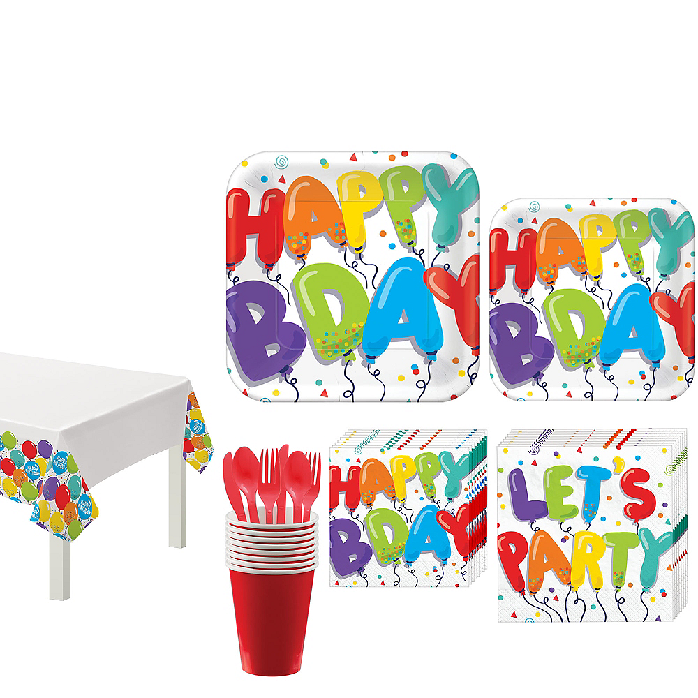 Birthday Balloons Tableware Kit for 18 Guests Image #1