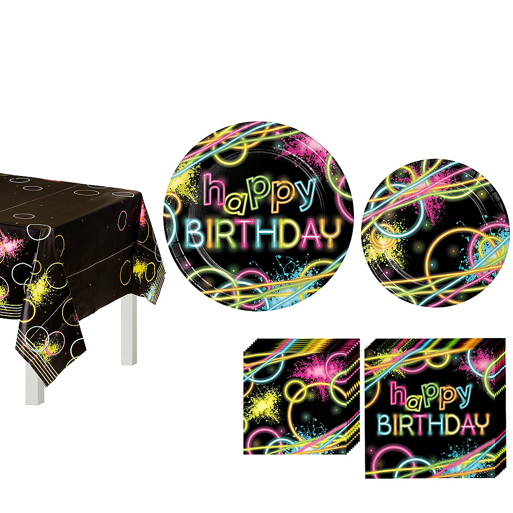 Neon Party Birthday Tableware Kit for 8 Guests Image #1