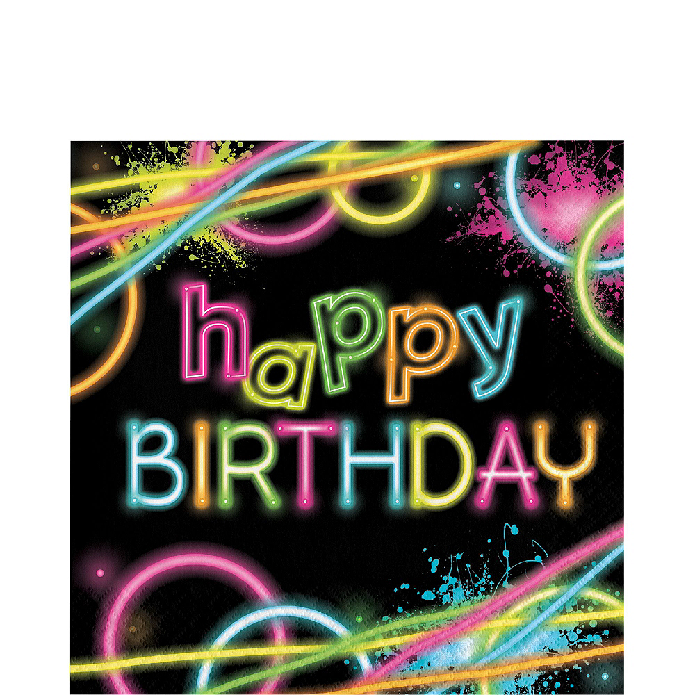 Neon Party Birthday Tableware Kit for 8 Guests Image #5