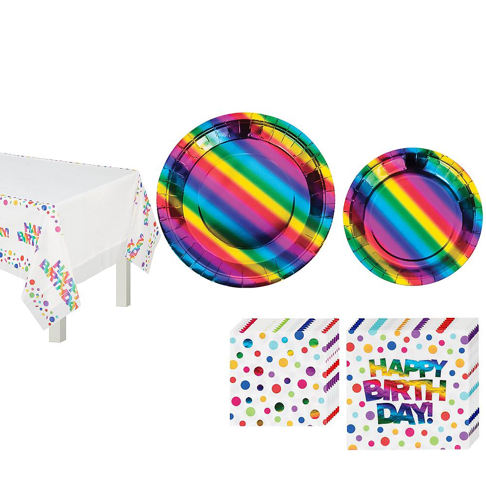 Metallic Rainbow Birthday Tableware Kit for 8 Guests Image #1