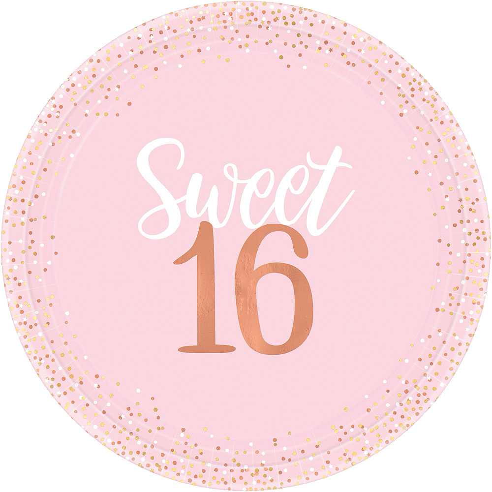 Metallic Rose Gold & Pink Sweet 16 Tableware Kit for 8 Guests Image #3