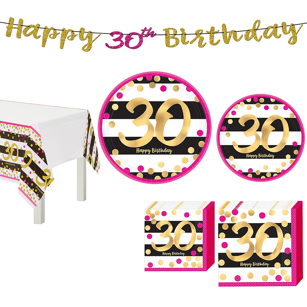 Metallic Pink & Gold 30th Birthday Tableware Kit for 8 Guests Image #1