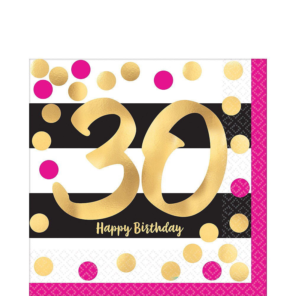 Metallic Pink & Gold 30th Birthday Tableware Kit for 8 Guests Image #3