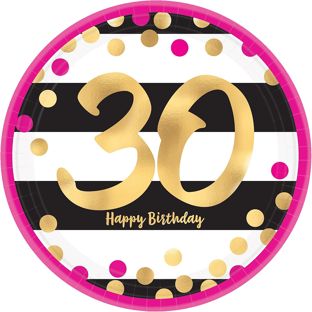 Metallic Pink & Gold 30th Birthday Tableware Kit for 8 Guests Image #4