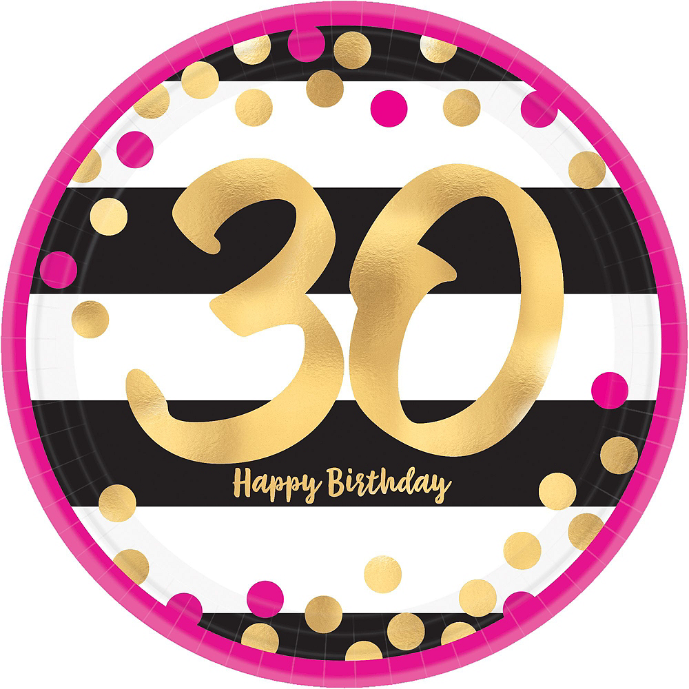 Metallic Pink & Gold 30th Birthday Tableware Kit for 8 Guests Image #5