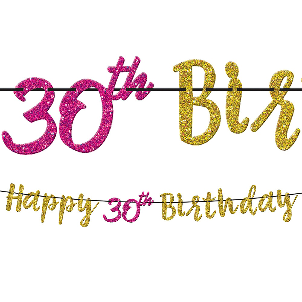 Metallic Pink & Gold 30th Birthday Tableware Kit for 8 Guests Image #7