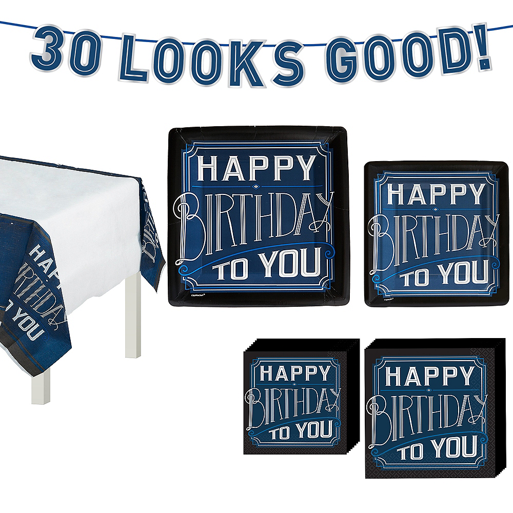 Vintage Happy 30th Birthday Tableware Kit for 8 Guests Image #1