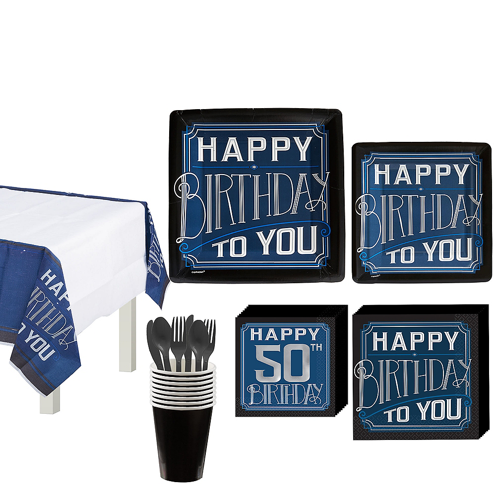 Vintage Happy 50th Birthday Tableware Kit for 8 Guests Image #1