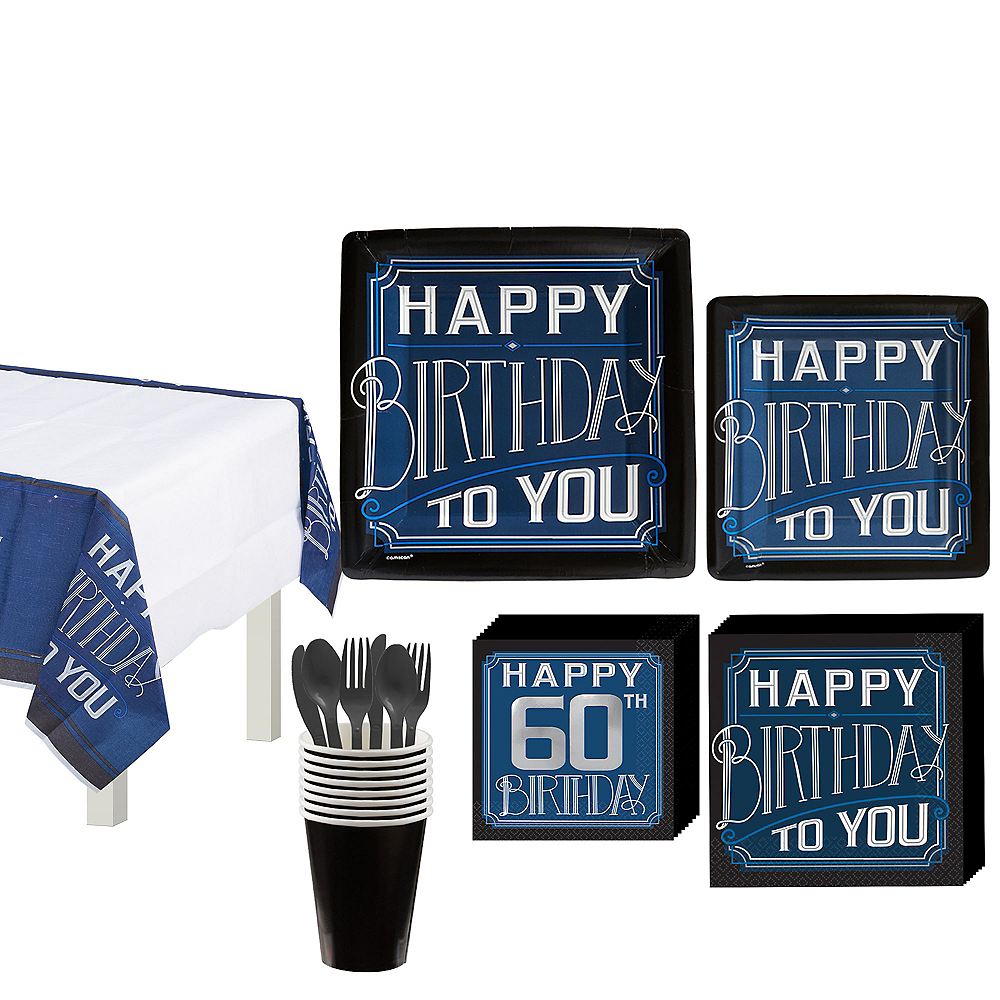 Vintage Happy 60th Birthday Tableware Kit for 8 Guests Image #1