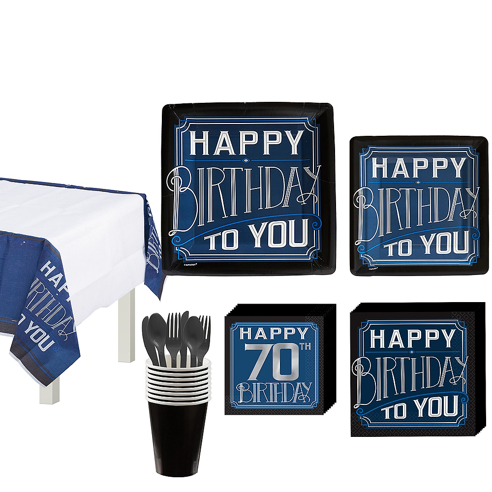 Vintage Happy 70th Birthday Tableware Kit for 8 Guests Image #1