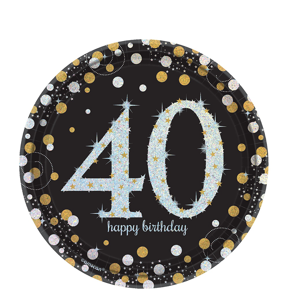 Sparkling Celebration 40th Birthday Tableware Kit for 8 Guests Image #2