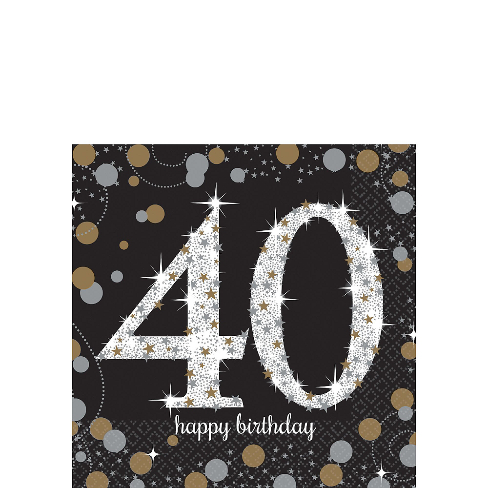 Sparkling Celebration 40th Birthday Tableware Kit for 8 Guests Image #4