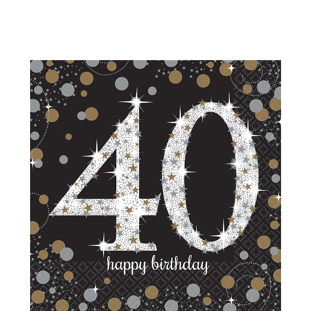 Sparkling Celebration 40th Birthday Tableware Kit for 8 Guests Image #5
