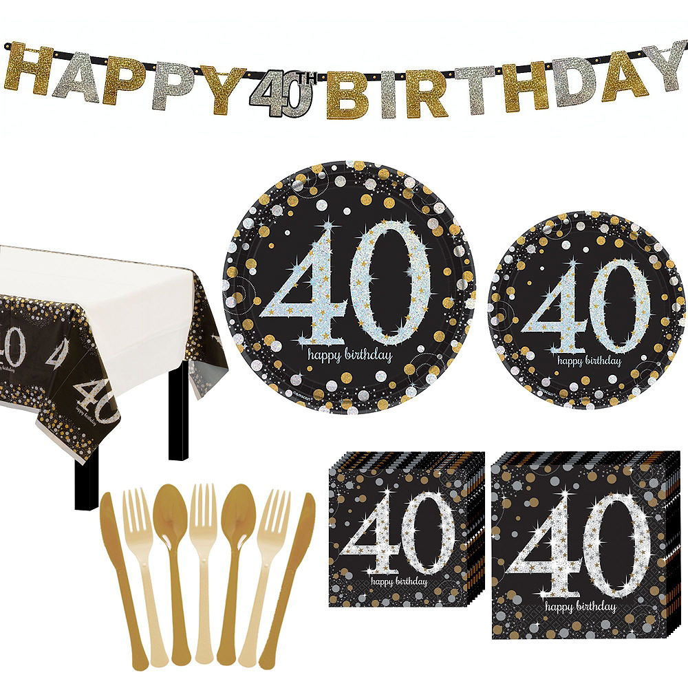 Sparkling Celebration 40th Birthday Tableware Kit for 8 Guests Image #9
