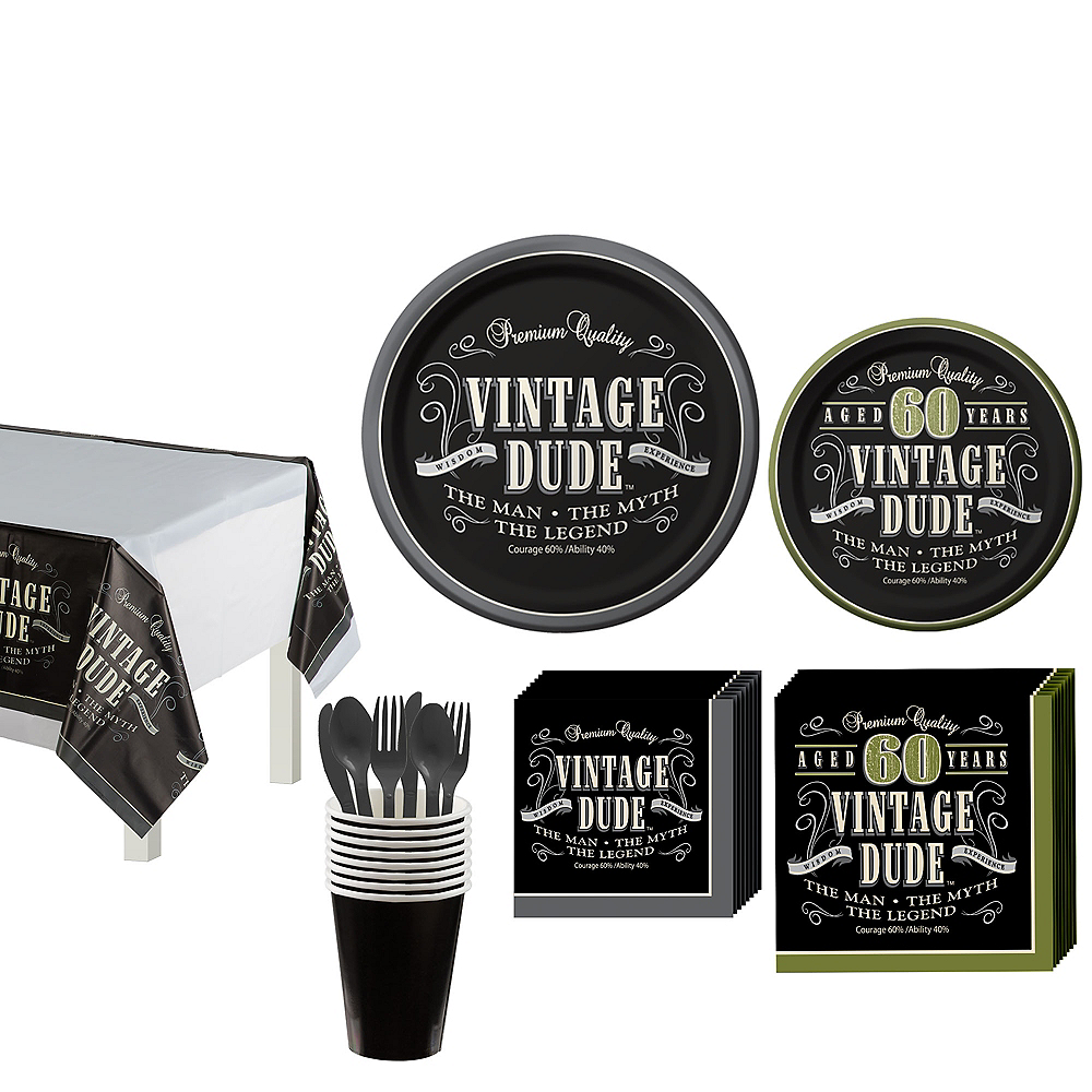 Vintage Dude 60th Birthday Tableware Kit for 8 Guests Image #1