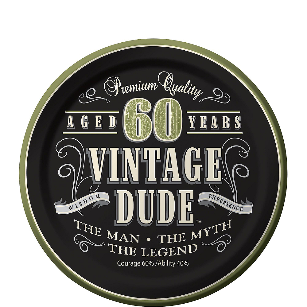 Vintage Dude 60th Birthday Tableware Kit for 8 Guests Image #2