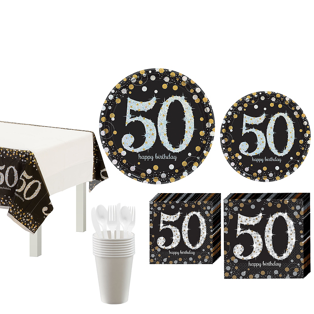 Sparkling Celebration 50th Birthday Tableware Kit for 8 Guests Image #1