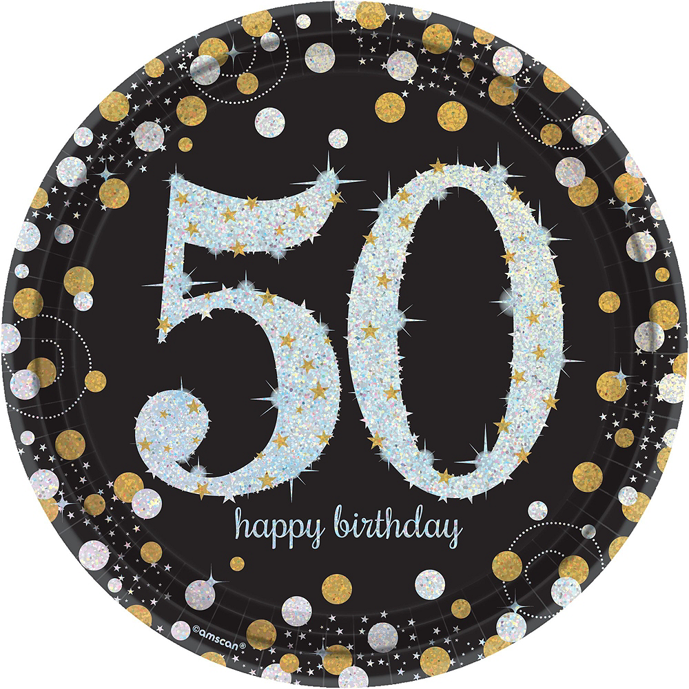 Sparkling Celebration 50th Birthday Tableware Kit for 8 Guests Image #3