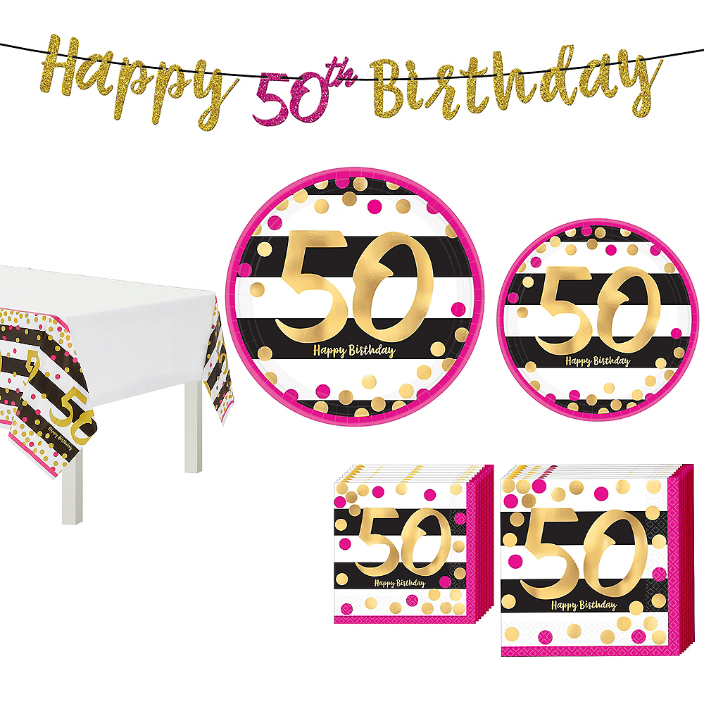 Metallic Pink & Gold 50th Birthday Tableware Kit for 8 Guests Image #1