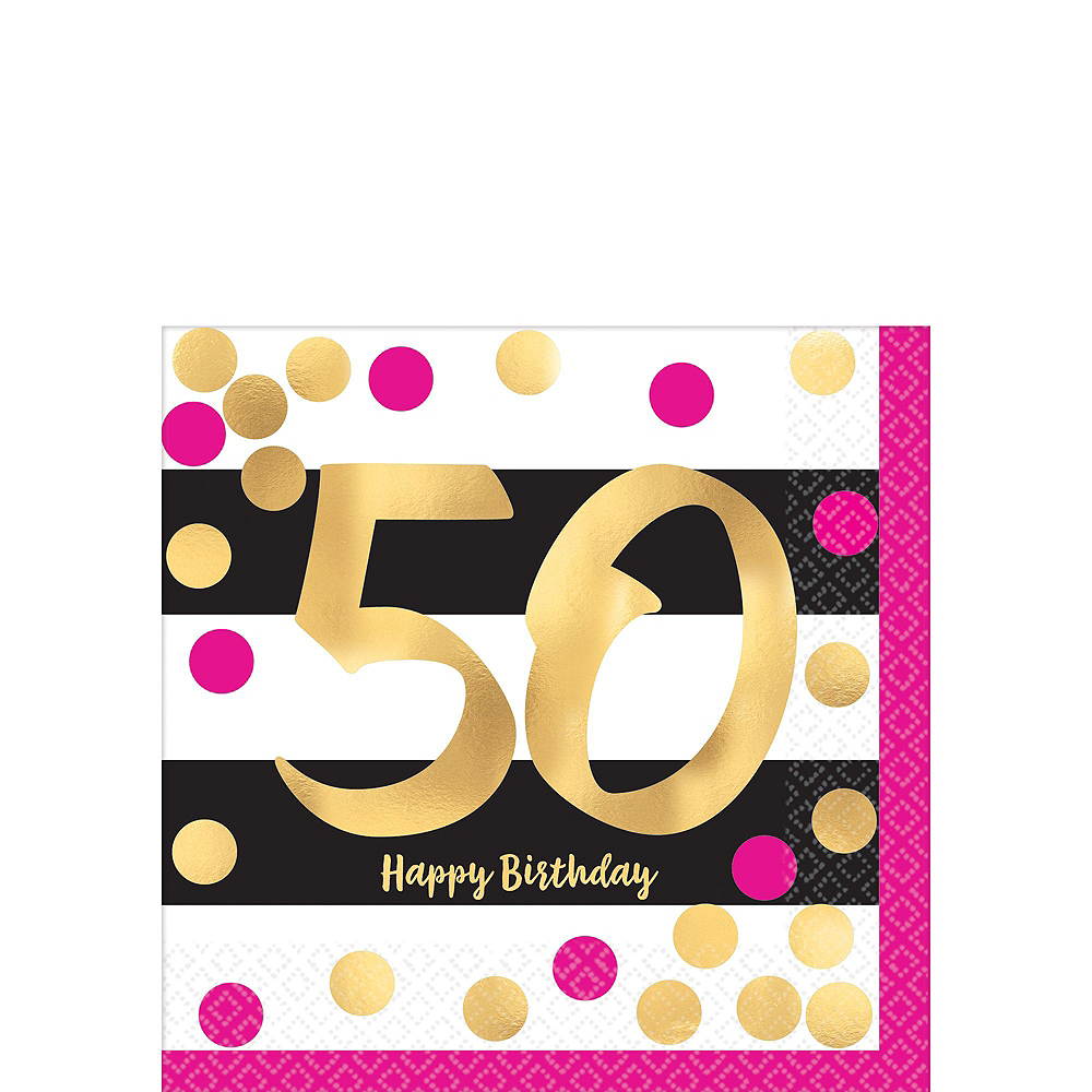 Metallic Pink & Gold 50th Birthday Tableware Kit for 8 Guests Image #2